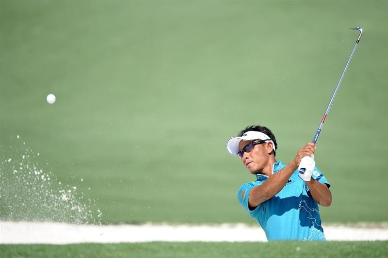 AUGUSTA, GA - APRIL 06:  Thongchai Jaidee of Thailand plays a bunker shot during a practice round prior to the 2010 Masters Tournament at Augusta National Golf Club on April 6, 2010 in Augusta, Georgia.  (Photo by Harry How/Getty Images)