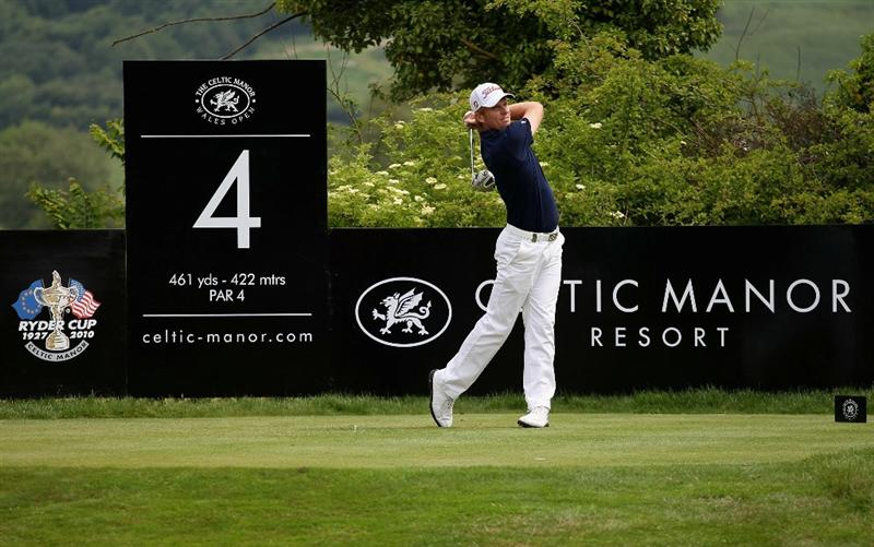 NEWPORT, WALES - JUNE 05:  Andrew Dodt of Australia tees off on the fourth hole during the third round of the Celtic Manor Wales Open on The Twenty Ten Course on June 5, 2010 in Newport, Wales.  (Photo by Warren Little/Getty Images)