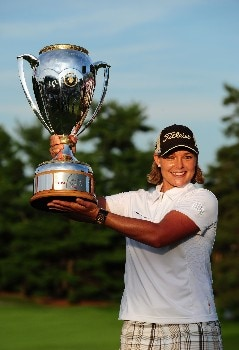 OTTAWA, ON - AUGUST 17:  Katherine Hull of Australia lifts the winner's trophy after winning the CN Canadian Women's Open at the Ottawa Hunt and Golf Club on August 17, 2008 in Ottawa, Ontario, Canada.  (Photo by Robert Laberge/Getty Images)