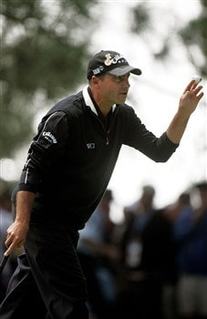 SAN DIEGO - JUNE 15:  Rocco Mediate waves to the gallery on the second green during the final round of the 108th U.S. Open at the Torrey Pines Golf Course (South Course) on June 15, 2008 in San Diego, California.  (Photo by Jeff Gross/Getty Images)