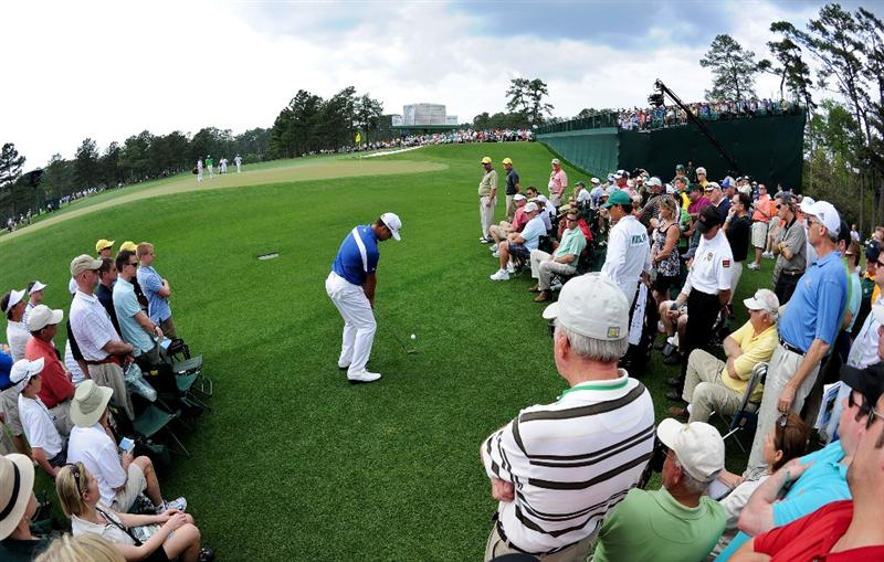 AUGUSTA, GA - APRIL 08:  Gary Woodland hits a shot to the 17th green during the second round of the 2011 Masters Tournament at Augusta National Golf Club on April 8, 2011 in Augusta, Georgia.  (Photo by Harry How/Getty Images)