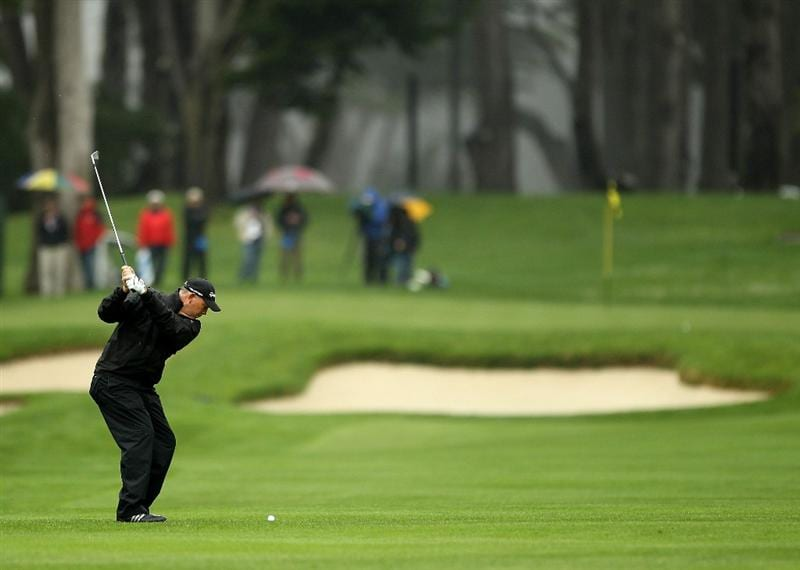 SAN FRANCISCO - NOVEMBER 07:  Tom Lehman hits his second shot on the 6th hole during the final round of the Charles Schwab Cup Championship at Harding Park Golf Course on November 7, 2010 in San Francisco, California.  (Photo by Ezra Shaw/Getty Images)