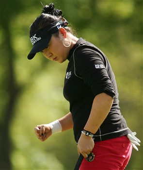 CORNING, NY - MAY 25:   Jeong Jang of South Korea reacts after saving par on the 18th hole during the final round of the LPGA Corning Classic at Corning Country Club on May 25, 2008 in Corning, New York.  (Photo by Kyle Auclair/Getty Images)