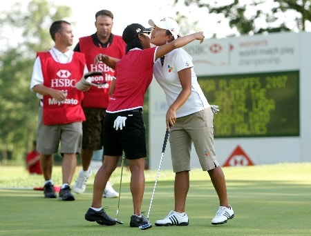 NEW ROCHELLE, NY - JULY 22:  Seon Hwa Lee of South Korea (R) is congratulated by Ai Miyazato of Japan as she wins the final of the HSBC Women's World Match Play Championship at Wykagyl Country Club on July 22, 2007 in New Rochelle, New York.  (Photo by Richard Heathcote/Getty Images)