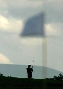 France's Jean Van De Velde seen in silhouette during the second round of the 2006 Smurfit Kappa European Open at the Kildare Club Smufit Course in Straffan, Ireland on July 7, 2006.Photo by Pete Fontaine/WireImage.com