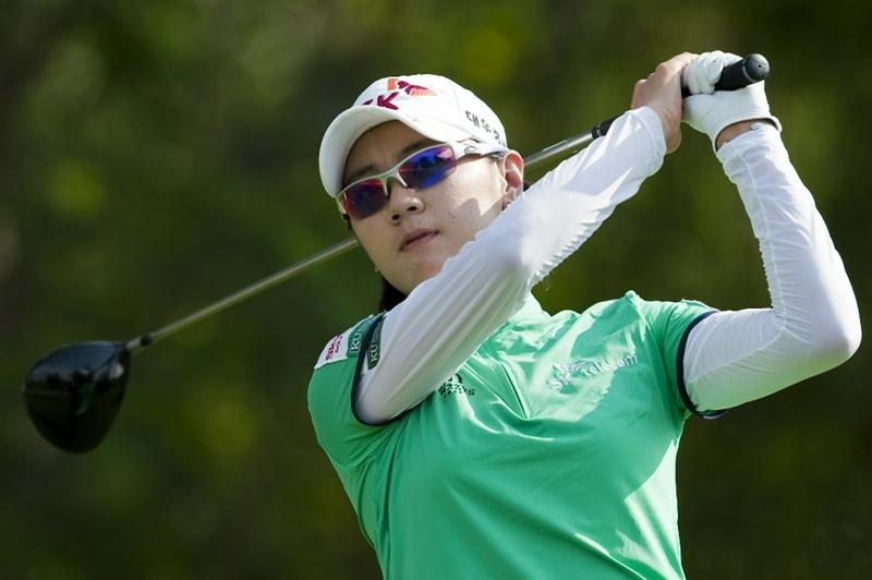 CHON BURI, THAILAND - FEBRUARY 18:  Na Yeon Choi of South Korea tees off on the 17th hole during day two of the LPGA Thailand at Siam Country Club on February 18, 2011 in Chon Buri, Thailand.  (Photo by Victor Fraile/Getty Images)