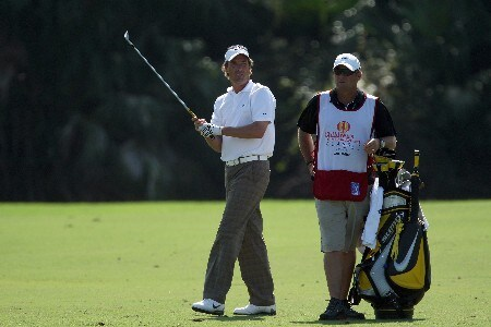LAKE BUENA VISTA, FL - NOVEMBER 02:  Stephen Ames of Canada prepares to hit his second shot on the 9th hole on the Palm Course during the second round of The Childrens Miracle Network Classic held on the Palm and Magnolia Courses at The Disney Shades of Green Resort, on November 2, 2007 in Lake Buena Vista, Florida.  (Photo by David Cannon/Getty Images)