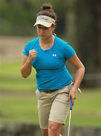 RIO DE JANEIRO, BRAZIL - MAY 29:  Mariajo Uribe of Colombia celebrates a birdie putt on the tenth hole during the final round of the HSBC LPGA Brazil Cup at the Itanhanga Golf Club on May 29, 2011 in Rio de Janeiro, Brazil.  (Photo by Scott Halleran/Getty Images)
