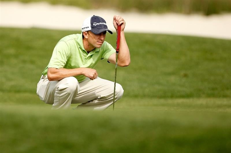 HILTON HEAD ISLAND, SC - APRIL 18:  Tim Wilkinson of New Zealand lines up a putt on the 17th hole during the third round of the Verizon Heritage at Harbour Town Golf Links on April 18, 2009 in Hilton Head Island, South Carolina.  (Photo by Streeter Lecka/Getty Images)