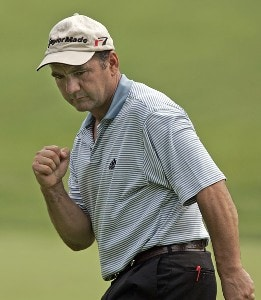Jose Coceres reacts after making his birdie putt on the 5th hole during the second round of the Booz Allen Classic at TPC Avenel in Potomac, Maryland, on June 23, 2006.Photo by Hunter Martin/WireImage.com