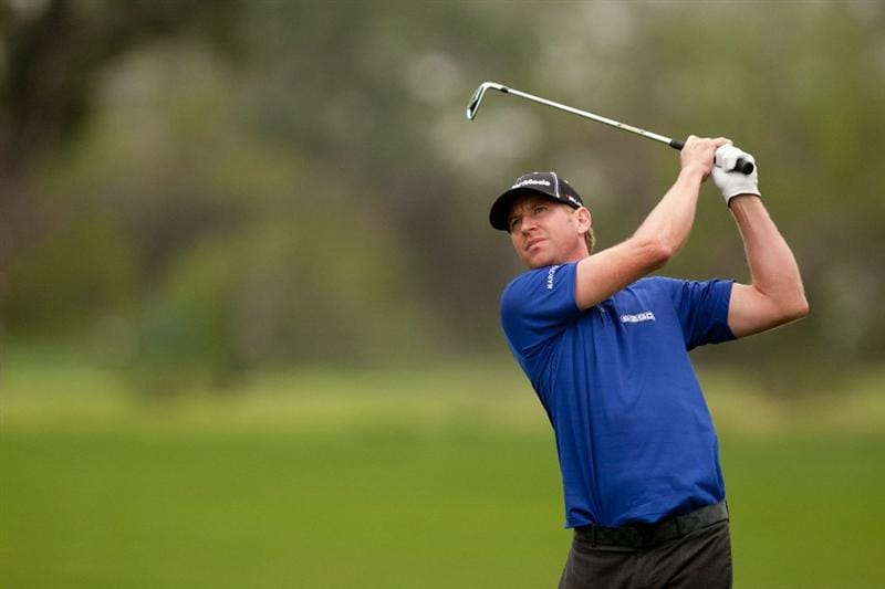 SAN ANTONIO, TX - APRIL 14: Vaughn Taylor follows through on a tee shot during the first round of the Valero Texas Open at the AT&T Oaks Course at TPC San Antonio on April 14, 2011 in San Antonio, Texas. (Photo by Darren Carroll/Getty Images)