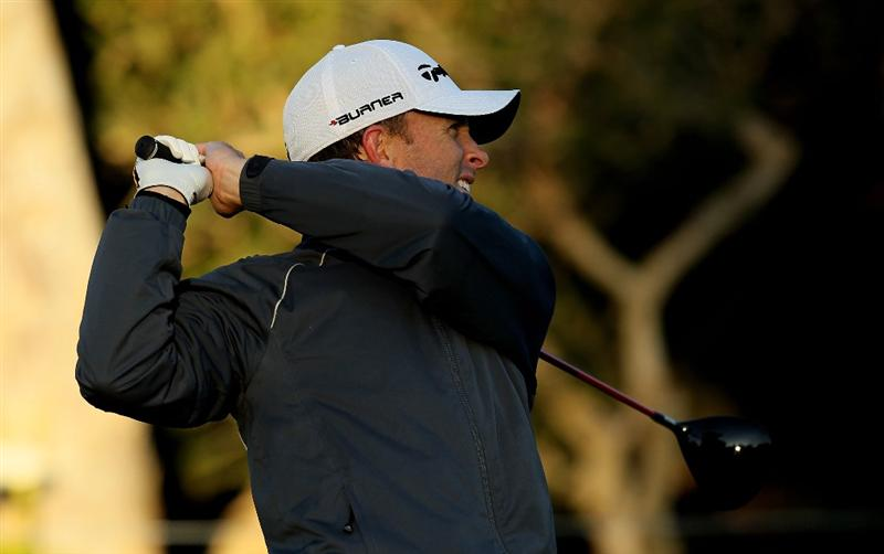 PACIFIC PALISADES, CA - FEBRUARY 07:  Tim Wilkinson of New Zealand hits his tee shot on the 18th hole during the continuation third round of the Northern Trust Open at Riviera Country Club on February 7, 2010 in Pacific Palisades, California.  (Photo by Stephen Dunn/Getty Images)