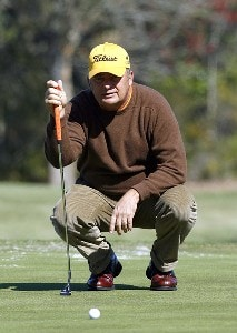 David Eger lines up his putt on the 12th green during the second round of the 2007 Outback Steakhouse Pro-Am Saturday, February 17, 2007, at the TPC of Tampa bay in Tampa, Florida. Champions Tour - 2007 Outback Steakhouse Pro-Am - Second RoundPhoto by Kevin C.  Cox/WireImage.com