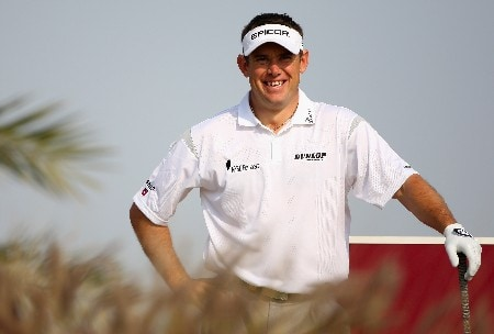 DOHA, QATAR - JANUARY 24:  Lee Westwood of England smiles on the 16th tee during the first round of the Commercialbank Qatar Masters at Doha Golf Club on January 24, 2008 in Doha, Qatar.  (Photo by Andrew Redington/Getty Images)