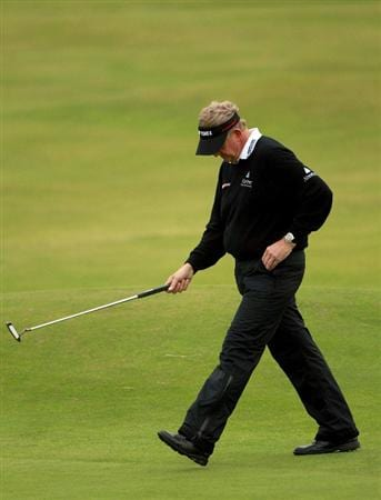 CARNOUSTIE, SCOTLAND - OCTOBER 09:  Colin Montgomerie of Scotland reacts after missing his putt on the fifth green during the third round of The Alfred Dunhill Links Championship at the Carnoustie Golf Links on October 9, 2010 in Carnoustie, Scotland.  (Photo by Andrew Redington/Getty Images)