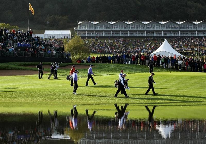 NEWPORT, WALES - OCTOBER 02:  General View as Ian Poulter and Padraig Harrington of Europe walk with Bubba Watson and Jeff Overton of the USA  during the rescheduled Morning Fourball Matches during the 2010 Ryder Cup at the Celtic Manor Resort on October 2, 2010 in Newport, Wales.  (Photo by Jamie Squire/Getty Images)