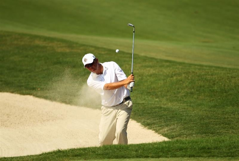 PONTE VEDRA BEACH, FL - MAY 08:  Bo Van Pelt plays from a greenside bunker on the 11th hole during the third round of THE PLAYERS Championship held at THE PLAYERS Stadium course at TPC Sawgrass on May 8, 2010 in Ponte Vedra Beach, Florida.  (Photo by Richard Heathcote/Getty Images)