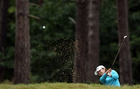 SUNNINGDALE, UNITED KINGDOM - AUGUST 03:  Yuri Fudoh of Japan plays her second shot at the 9th hole during the final round of the 2008  Ricoh Women's British Open Championship held on the Old Course at Sunningdale Golf Club, on August 3, 2008 in Sunningdale, England.  (Photo by David Cannon/Getty Images)