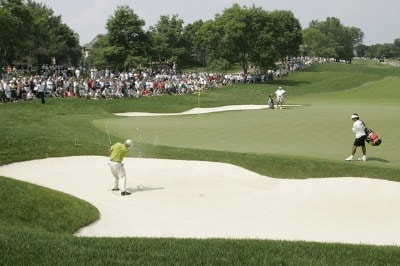 Tom Lehman hits from the bunker on #1 during the third round of the Memorial Tournament Presented by Morgan Stanley held at Muirfield Village Golf Club in Dublin, Ohio, on June 2, 2007. Photo by: Chris Condon/PGA TOURPhoto by: Chris Condon/PGA TOUR