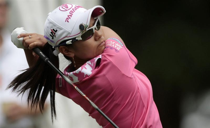 MOBILE, AL - MAY 14:  Ai Miyazato of Japan tees off on the first hole during second round play in the Bell Micro LPGA Classic at the Magnolia Grove Golf Course on May 14, 2010 in Mobile, Alabama.  (Photo by Dave Martin/Getty Images)