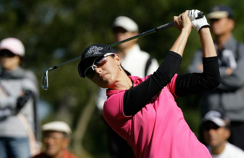 SHIMA, JAPAN - NOVEMBER 06:  Stacy Prammanasudh of United States plays a shot on the 8th hole during round two of the Mizuno Classic at Kintetsu Kashikojima Country Club on November 6, 2010 in Shima, Japan.  (Photo by Chung Sung-Jun/Getty Images)