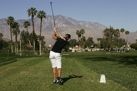 RANCHO MIRAGE, CALIFORNIA - MARCH 30:  Brittany Lang watches her tee shot on the fifth hole during the second round of the Kraft Nabisco Championship at Mission Hills Country Club on March 30, 2007 in Rancho Mirage, California.  (Photo by Scott Halleran/Getty Images)