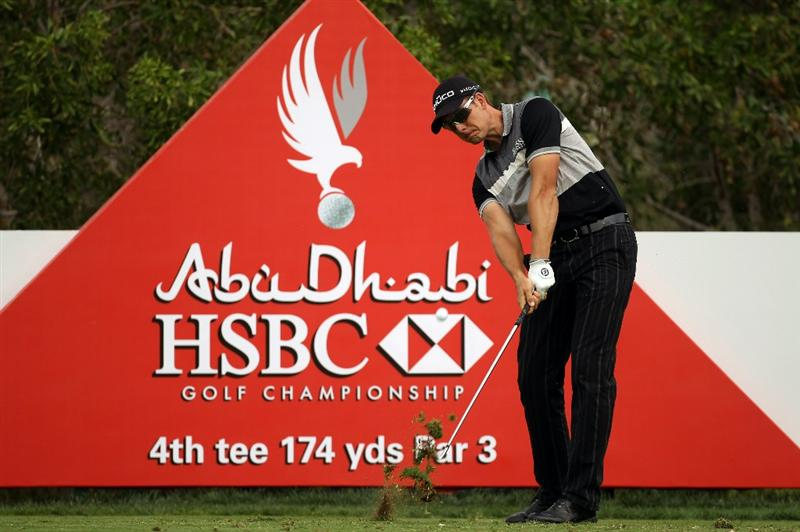 ABU DHABI, UNITED ARAB EMIRATES - JANUARY 19:  Henrik Stenson of Sweden during the pro-am event prior to the Abu Dhabi HSBC Golf Championship at the Abu Dhabi Golf Club on January 19, 2011 in Abu Dhabi, United Arab Emirates.  (Photo by Ross Kinnaird/Getty Images)