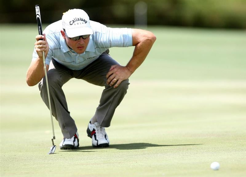 PERTH, AUSTRALIA - FEBRUARY 21:  Niclas Fasth of Sweden lines up his putt on the 9th green during round three of the 2009 Johnnie Walker Classic at The Vines Resort and Country Club on February 21, 2009 in Perth, Australia.  (Photo by Paul Kane/Getty Images)