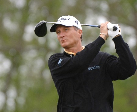Gary Koch drives from the ninth tee during the second round of the 2005 Liberty Mutual Legends of Golf Tournament, April 23, 2005 in Savannah, Ga.Photo by Al Messerschmidt/WireImage.com