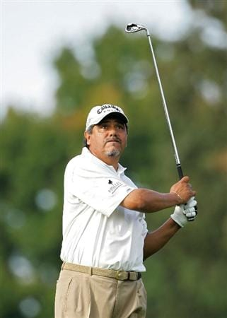 TIMONIUM, MD - OCTOBER 09:  Eduardo Romero of Argentina plays a shot from the fairway during the first round of the Constellation Energy Senior Players Championship at Baltimore Country Club East Course held on October 9, 2008 in Timonium, Maryland  (Photo by Michael Cohen/Getty Images)