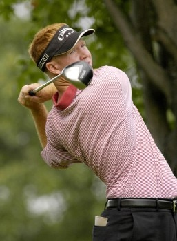 Bubba Dickerson tees off on the third hole during the third round of the Nationwide Tour Xerox Classic in Rochester, New York,  Augu. 20, 2005.Photo by Kevin Rivoli/WireImage.com