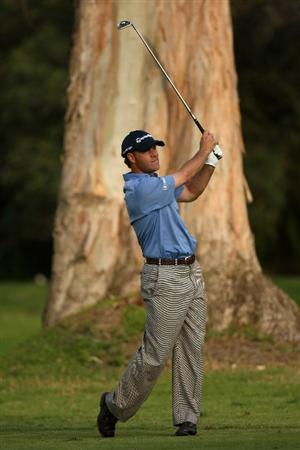 PACIFIC PALISADES, CA - FEBRUARY 20:  Scott McCarron hits his second shot on the 13th hole during the second round of the Northern Trust Open on February 20, 2009 at Riviera Country Club in Pacific Palisades. California.  (Photo by Stephen Dunn/Getty Images)