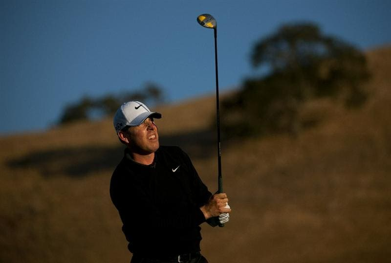 SAN MARTIN, CA - OCTOBER 14:  Justin Leonard makes a tee shot on the 11th hole during the first round of the Frys.com Open at the CordeValle Golf Club on October 14, 2010 in San Martin, California.  (Photo by Robert Laberge/Getty Images)