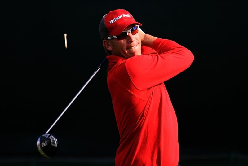 LA JOLLA, CA - FEBRUARY 07:  Ricky Barnes watches his tee shot on the seventh hole during the third round of the Buick Invitational on the South Course at Torrey Pines Golf Course on February 7, 2009 in La Jolla, California.  (Photo by Scott Halleran/Getty Images)
