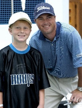 Ryan Palmer visits with children at the Cooks Childrens Medical Center during the PGA TOUR's Charity visit on Tuesday, May 17,2005before the  Bank of America Colonial InvitationalPhoto by Marc Feldman/WireImage.com