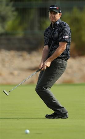 LAS VEGAS, NV - OCTOBER 21: Jimmy Walker reacts to missing his putt on the 13th green during the first round of the Justin Timberlake Shriners Hospitals for Children Openon October 21, 2010 in Las Vegas, Nevada. (Photo by Steve Dykes/Getty Images)