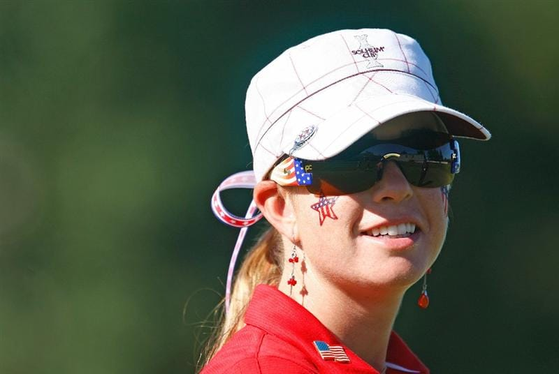 SUGAR GROVE, IL - AUGUST 23:  Paula Creamer of the U.S. Team waits on the practice ground during the Sunday singles matches at the 2009 Solheim Cup at Rich Harvest Farms on August 23, 2009 in Sugar Grove, Illinois.  (Photo by Scott Halleran/Getty Images)