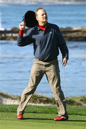 PEBBLE BEACH, CA - FEBRUARY 14: Bill Murray acknowledges the gallery after a putt on the fourth hole during the third round of the AT&T Pebble Beach National Pro-Am at the Pebble Beach Golf Links on February 14, 2009 in Pebble Beach, California. (Photo by Jeff Gross/Getty Images)