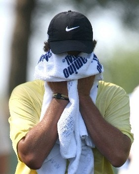 TULSA, OK - AUGUST 10:  Stephen Ames of Canada wipes his face on the sixth tee during the second round of the 89th PGA Championship at the Southern Hills Country Club on August 10, 2007 in Tulsa, Oklahoma.  (Photo by Jeff Gross/Getty Images)