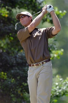 MITCHELLVILLE, MD - MAY 24:  Jeff Brehaut plays his shot from the 14th tee during Round 3 of the Nationwide Tour Melwood Prince George's County Open at the Country Club at Woodmore on May 24, 2008 in Mitchellville, Maryland.  (Photo by Jonathan Ernst/Getty Images)