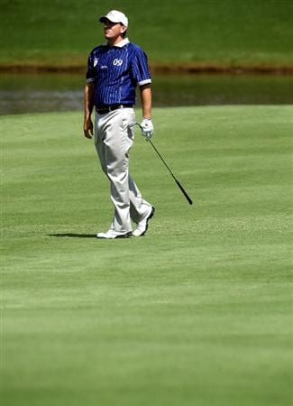 ORLANDO, FL - MARCH 16: Ben Curtis watches his shot on the seventh hole at the Tavistock Cup on March 16, 2009 at Lake Nona Country Club in Orlando, Florida.  (Photo by Marc Serota/Getty Images)