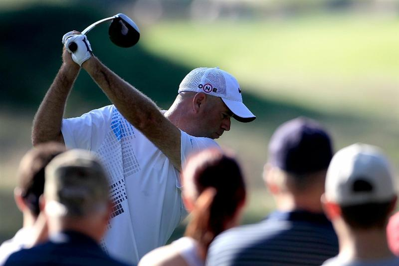 NORTON, MA - SEPTEMBER 04:  Stewart Cink hits a shot on the 16th hole during the second round of the Deutsche Bank Championship at TPC Boston on September 4, 2010 in Norton, Massachusetts.  (Photo by Michael Cohen/Getty Images)