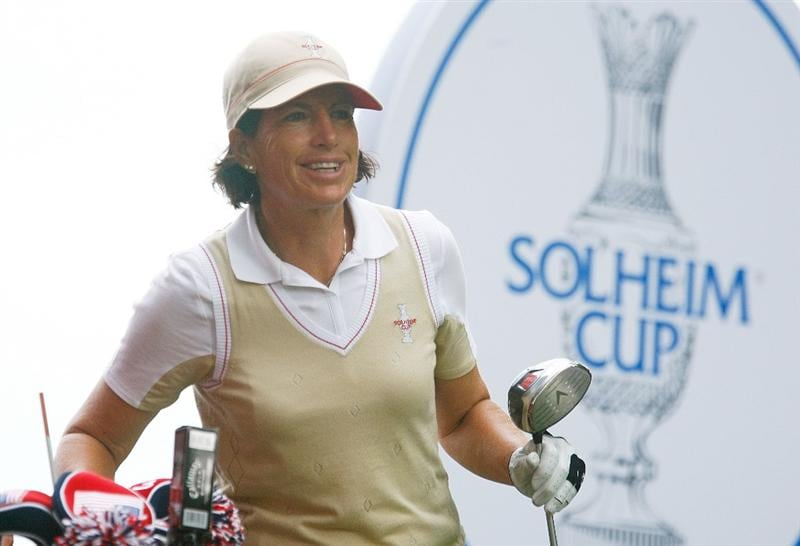 SUGAR GROVE, IL - AUGUST 20:  Juli Inkster of the U.S. Team waits on a tee box during a practice round prior to the start of the 2009 Solheim Cup at Rich Harvest Farms on August 20, 2009 in Sugar Grove, Illinois.  (Photo by Scott Halleran/Getty Images)