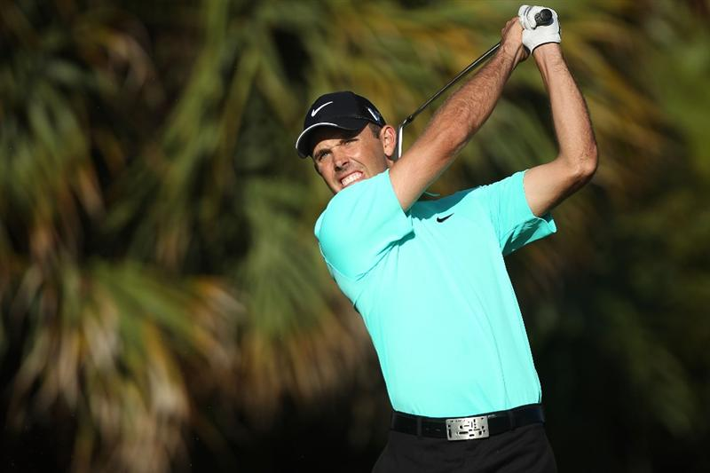 DORAL, FL - MARCH 13:  Charl Schwartzel of South Africa tees off on the 13th tee box during round three of the 2010 WGC-CA Championship at the TPC Blue Monster at Doral on March 13, 2010 in Doral, Florida.  (Photo by Scott Halleran/Getty Images)
