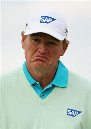TURNBERRY, SCOTLAND - JULY 17:  Ernie Els of South Africa pulls a face during round two of the 138th Open Championship on the Ailsa Course, Turnberry Golf Club on July 17, 2009 in Turnberry, Scotland.  (Photo by Andrew Redington/Getty Images)