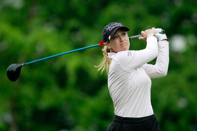 GLADSTONE, NJ - MAY 22:  Cristie Kerr hits her tee shot on the tenth hole during her match against  Suzann Pettersen of Norway in the final of the Sybase Match Play Championship at Hamilton Farm Golf Club on May 22, 2011 in Gladstone, New Jersey.  (Photo by Chris Trotman/Getty Images)
