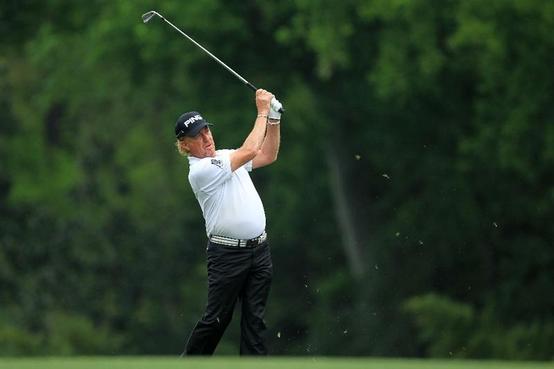 AUGUSTA, GA - APRIL 08:  Miguel Angel Jimenez of Spain hits his second shot on the fifth hole during the second round of the 2011 Masters Tournament at Augusta National Golf Club on April 8, 2011 in Augusta, Georgia.  (Photo by David Cannon/Getty Images)
