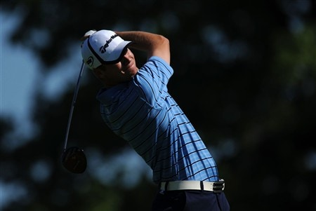 OAKVILLE, ON - JULY 25:  Sean O'Hair makes a tee shot on the 16th hole as he resumes his first round that was delayed by rainstorms yesterday at the RBC Canadian Open at the Glen Abbey Golf Club on July 25, 2008 in Oakville, Ontario.  (Photo by Robert Laberge/Getty Images)