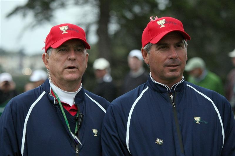 SAN FRANCISCO - OCTOBER 11:  Fred Couples the Captain of the USA Team with his assistant captain Jay Haas on the 2nd tee during the Day Four Singles Matches in The Presidents Cup at Harding Park Golf Course on October 11, 2009 in San Francisco, California  (Photo by David Cannon/Getty Images)