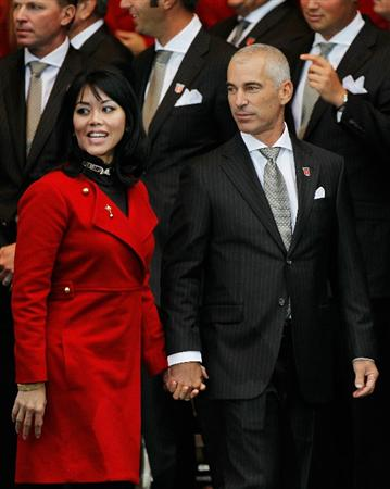 NEWPORT, WALES - SEPTEMBER 30:  Team Captain of the USA Corey Pavin and Wife Lisa stand together during the Opening Ceremony prior to the 2010 Ryder Cup at the Celtic Manor Resort on September 30, 2010 in Newport, Wales.  (Photo by Sam Greenwood/Getty Images)